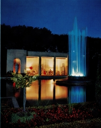 Image of Teahouse Dinner with fountain lights.