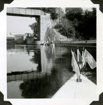 Benny LaHaye's canoe in the Rideau Canal.